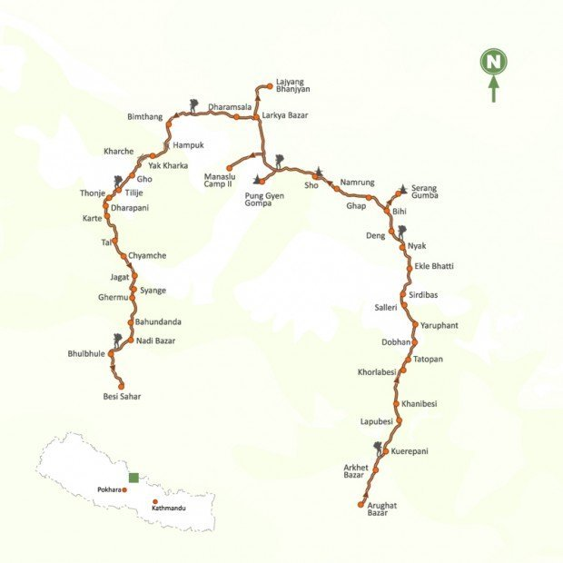 manaslu trek circuit map